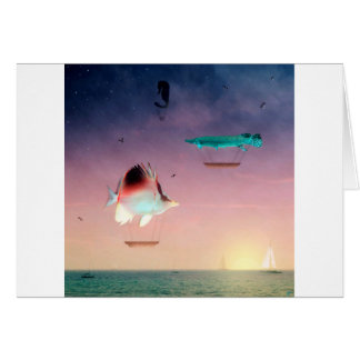 Los pescados nadan mejor entre la noche y el día tarjeta de felicitación