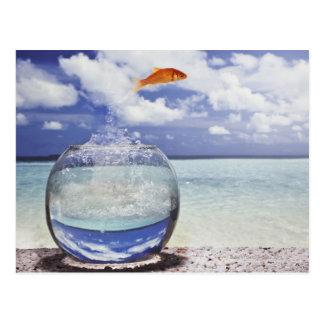 Los pescados que saltan del acuario tarjeta postal
