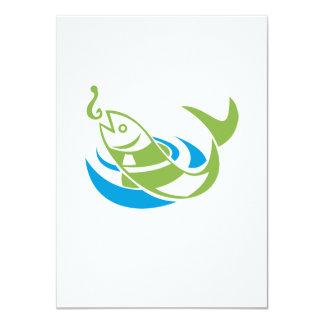 """Los pescados que saltan para el gancho del cebo invitación 4.5"""" x 6.25"""""""