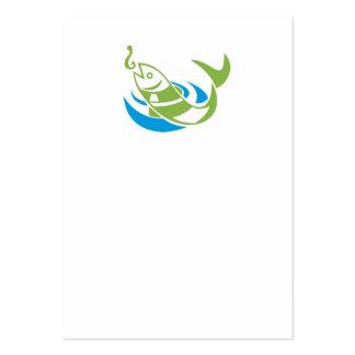 Los pescados que saltan para el gancho del cebo tarjetas de visita