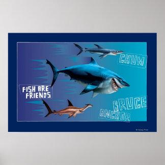 Los pescados son amigos póster