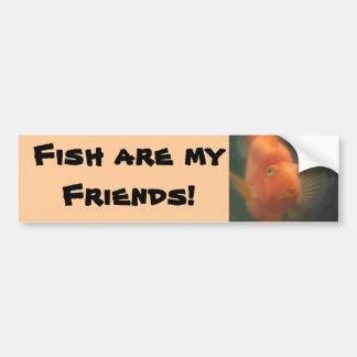 ¡Los pescados son mis amigos! Parachoque de la fot Pegatina Para Auto
