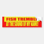 Los pescados tiemblan pegatina para el parachoques etiqueta de parachoque