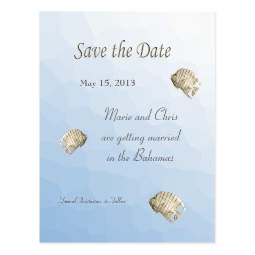 Los pescados tropicales ahorran el boda del tema postal