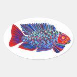 Los pescados tropicales diseñan a los pegatinas pegatinas de ovaladas