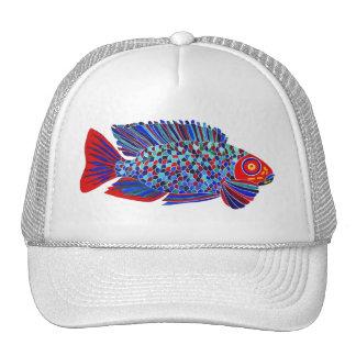 Los pescados tropicales diseñan el gorra blanco de