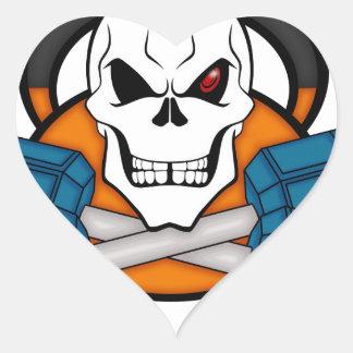 Los pesos del amor del cráneo pegatina en forma de corazón