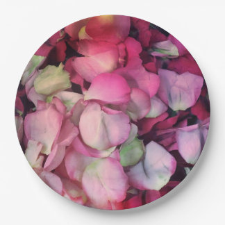 los pétalos color de rosa van de fiesta las placas platos de papel