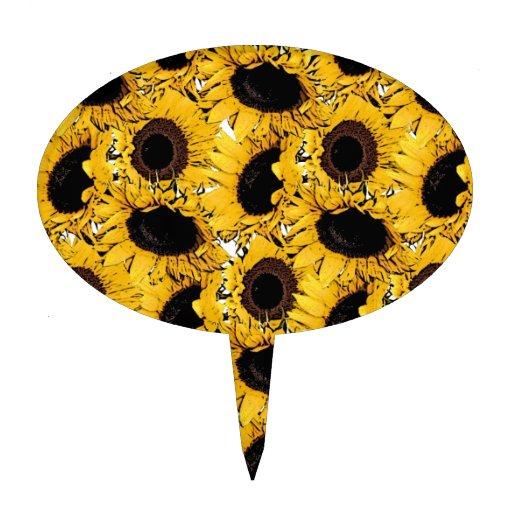 los pétalos de las flores del sol nadan amarillo figura para tarta
