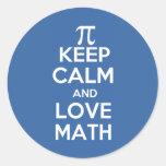 Los pi guardan calma y matemáticas del amor etiquetas redondas