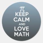 Los pi guardan calma y matemáticas del amor etiqueta redonda