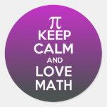 Los pi guardan calma y matemáticas del amor pegatina redonda