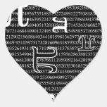 Los pi son cuadrado pegatina en forma de corazón