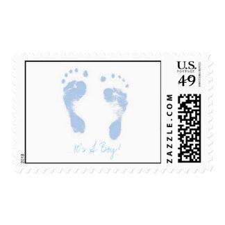 ¡Los pies del bebé de azules cielos, es un Sello Postal