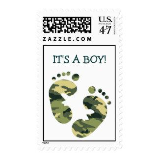 ¡Los pies del bebé del verde caqui del camuflaje Timbres Postales