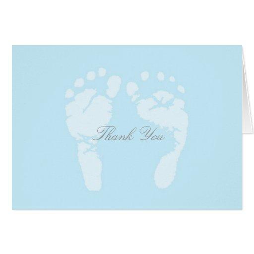 Los pies del bebé le agradecen tarjeta pequeña