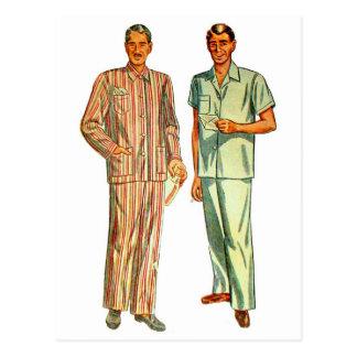 Los pijamas del vintage de los hombres retros del  tarjeta postal