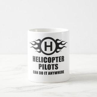 Los pilotos del helicóptero pueden hacerlo dondequ taza básica blanca