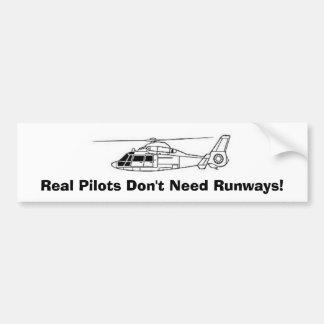 ¡Los pilotos reales no necesitan pistas! Etiqueta De Parachoque