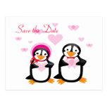 Los pingüinos de la tarjeta del día de San Valentí Tarjeta Postal