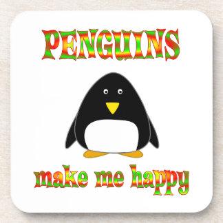 Los pingüinos me hacen feliz posavasos de bebida