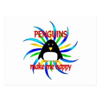 Los pingüinos me hacen feliz tarjeta postal
