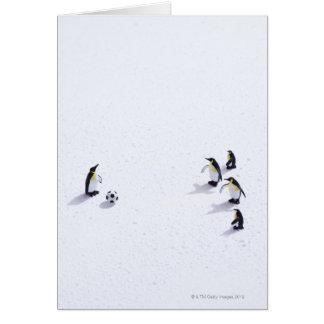 Los pingüinos que juegan a fútbol tarjeta de felicitación