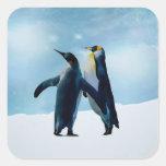 Los pingüinos viven y dejan vivo colcomanias cuadradas