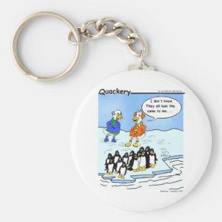 Los pingüinos volaron al sur llavero redondo tipo pin