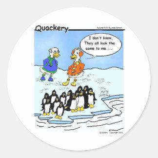 Los pingüinos volaron al sur pegatina redonda