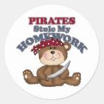 Los piratas divertidos robaron mi preparación pegatinas redondas