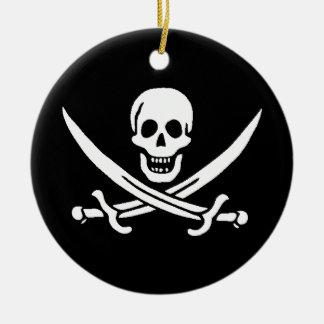 Los piratas son l� - adorno navideño redondo de cerámica