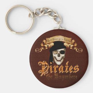 Los piratas van dondequiera llavero redondo tipo pin