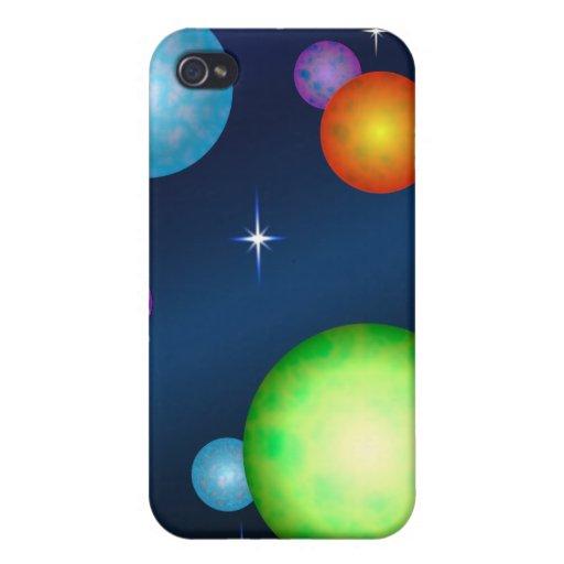 Los planetas asolean diseño de espacio de las estr iPhone 4 carcasa