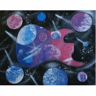 los planetas azules rosados púrpuras de la guitarr