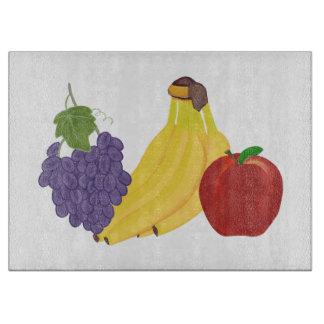 Los plátanos Apple de las uvas dan fruto las Tabla Para Cortar