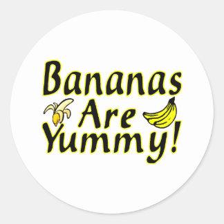 Los plátanos son deliciosos etiqueta redonda