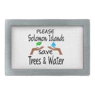 Los PLZ Solomon Island ahorran el árbol y riegan Hebillas De Cinturón Rectangulares