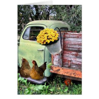 Los pollos y viejos cogen el camión felicitacion