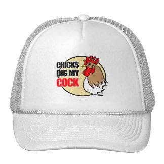 Los polluelos cavan mi gallo gorro de camionero