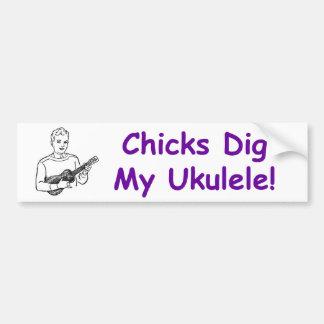 ¡Los polluelos cavan mi Ukulele! Pegatina De Parachoque