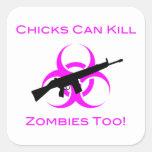 Los polluelos pueden matar a zombis también pegatina cuadrada