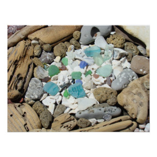 Los posters de cristal del mar varan la playa de l