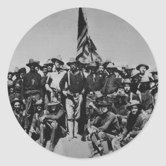 Los potros Teddy Roosevelt Rough Riders 1898 del Pegatina Redonda