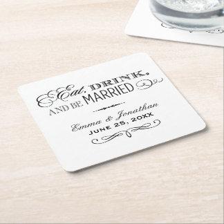 Los prácticos de costa del boda el | comen, bebida posavasos de cartón cuadrado