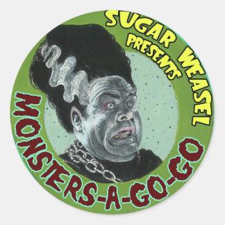 Los presentes de la comadreja del azúcar Monstruo- Pegatina Redonda