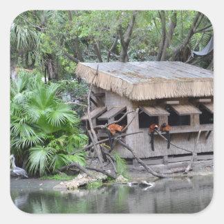 los primates en estilo del tiki monkey la choza en calcomanías cuadradass