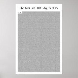 Los primeros 300 000 dígitos del pi póster