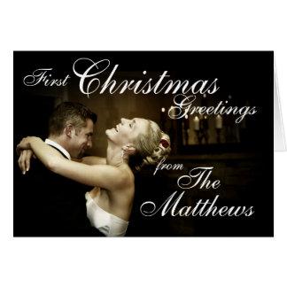 Los primeros saludos del navidad casan nuevamente tarjeta pequeña