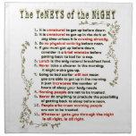 Los principios de la noche servilletas